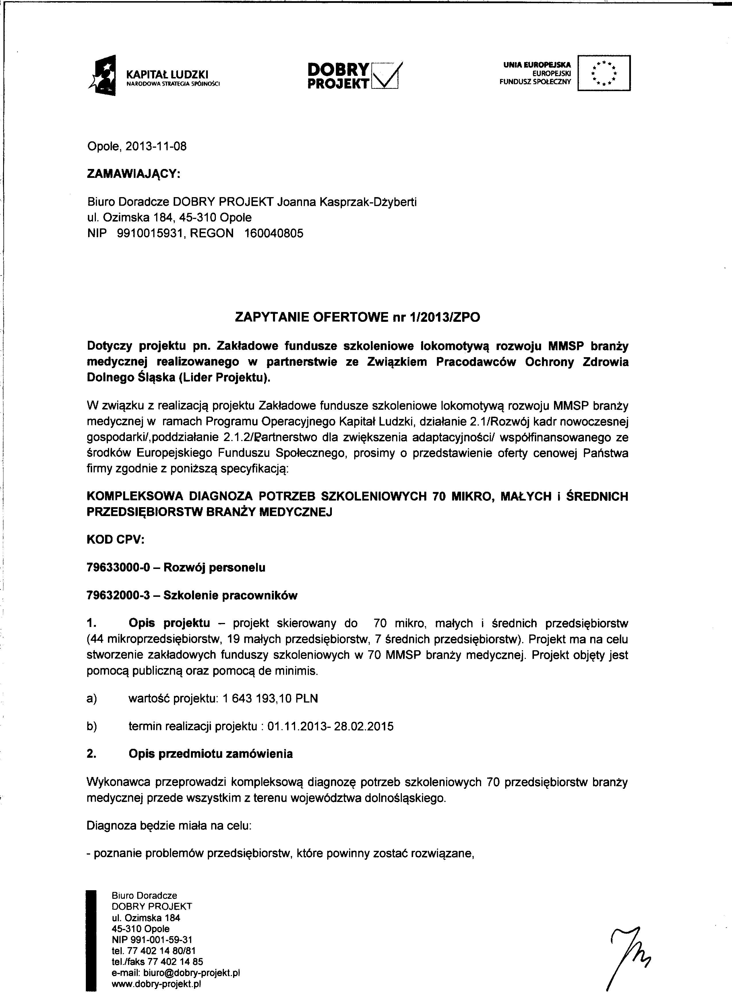 zapytanie ofertowe nr 1/2013/ZPO